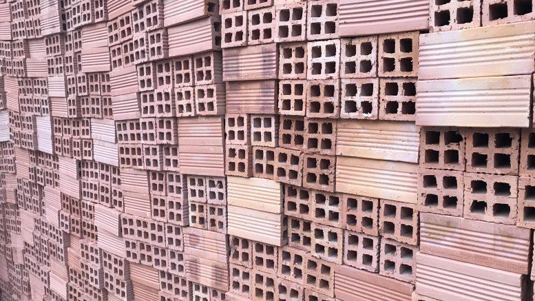 Bricks at a construction site in Ho Chi Minh City, Vietnam