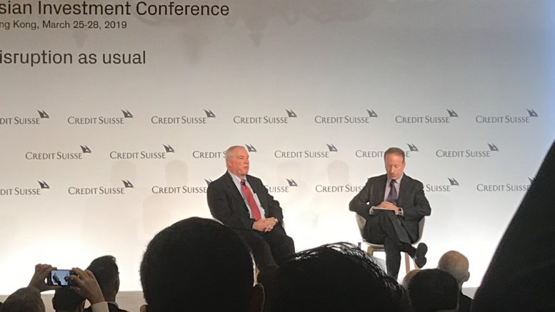Eric Rosengren, president and CEO of the U.S. Federal Reserve Bank of Boston, (left) at the 2019 Credit Suisse Asian Investment Conference in Hong Kong on 26 March.