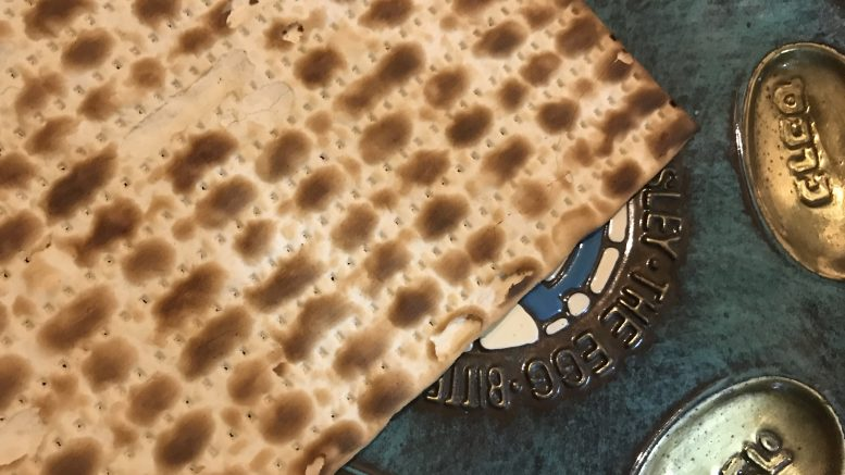 Passover Seder plate with matzah