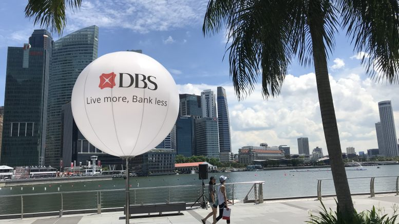 DBS signage at the DBS Marina Regatta dragon boat race on 2 June 2019.