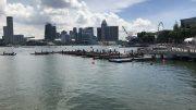 DBS Marina Regatta dragon boat race and city skyline on 2 June 2019.