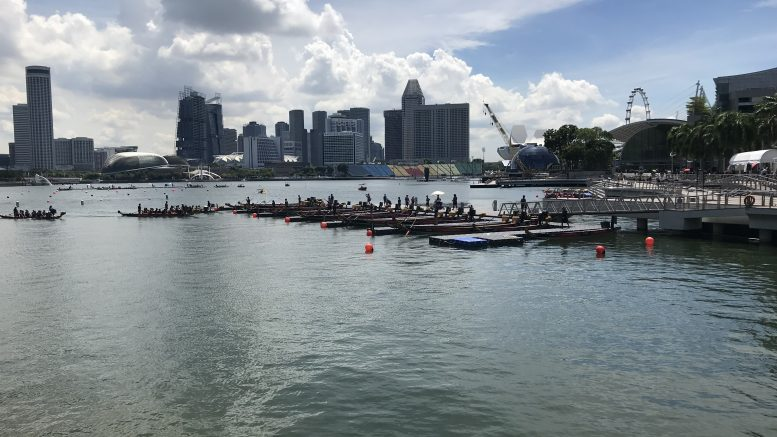 DBS Marina Regatta dragon boat race and city skyline on 2 June 2019.