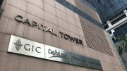 Sign at CapitaLand's Capital Tower in Singapore CBD