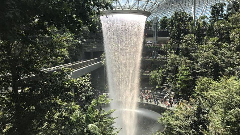 Waterfall at Jewel Changi mall
