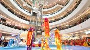 Opening of Raffles City Chongqing with lion dancers