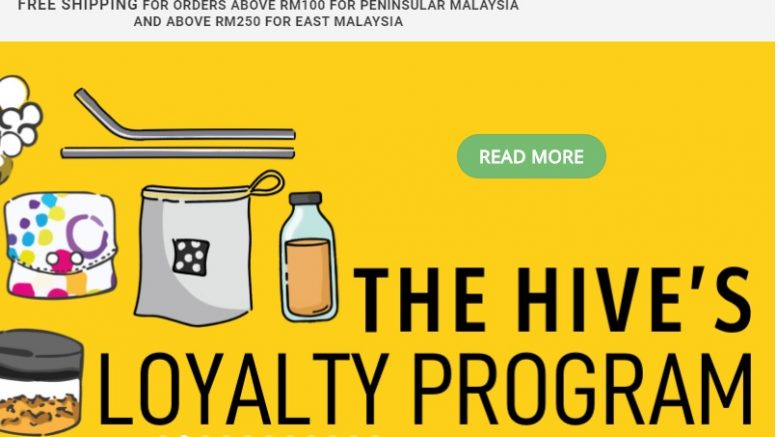 Screenshot of Malaysia-based zero-waste retailer The Hive's website