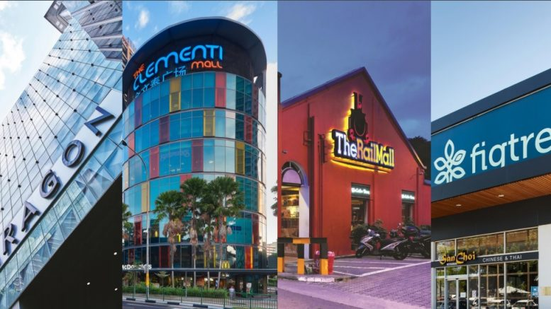 The four properties in SPH REIT -- Paragon mall, Clementi Mall, The Rail Mall and Figtree Grove Shopping Centre. Image credit: SPH REIT