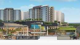An artist's impression of the Sengkang Grand Residences project, with a cross-section to show the hawker center, community plaza, retail mall, community club, bus interchange and MRT connectivity. Credit: City Developments