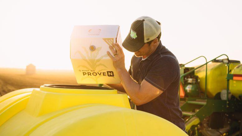 Iowa farmer using Pivot Bio product. Credit: Pivot Bio