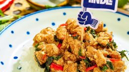 Thai basil chicken prepared with plant-based TiNDLE. Credit: Next Gen Foods