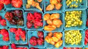 Heirloom peppers at a farmers' market
